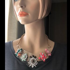 Jewelry - Colorful statement necklace gold chain with jewels